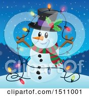 Clipart Of A Happy Snowman With A Strand Of Lit Colorful Christmas Lights Royalty Free Vector Illustration by visekart