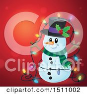 Clipart Of A Snowman With A Strand Of Colorful Christmas Lights Over Red Royalty Free Vector Illustration by visekart