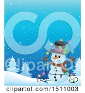 Clipart Of A Happy Snowman With A Strand Of Colorful Christmas Lights In A Winter Landscape Royalty Free Vector Illustration by visekart