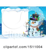 Clipart Of A Happy Snowman With A Strand Of Colorful Christmas Lights By A Blank Sign Royalty Free Vector Illustration by visekart