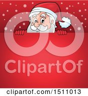 Red Christmas Sign With Santa Claus