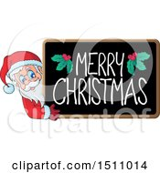 Clipart Of A Merry Christmas Blackboard With Santa Claus Royalty Free Vector Illustration by visekart