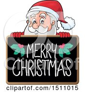 Merry Christmas Blackboard With Santa Claus
