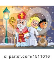 Clipart Of A Sinterklaas With An Angel And Krampus Royalty Free Vector Illustration by visekart