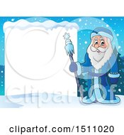 Father Frost Or Santa Claus With A Blank Sign
