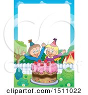 Poster, Art Print Of Border Of A Boy And Girl Celebrating At A Birthday Party With A Cake