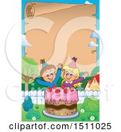 Poster, Art Print Of Parchment Scroll Border Of A Boy And Girl Celebrating At A Birthday Party With A Cake