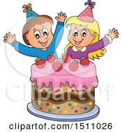 Boy And Girl Celebrating At A Birthday Party With A Cake
