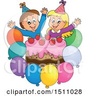 Clipart Of A Boy And Girl Celebrating At A Birthday Party With Balloons And A Cake Royalty Free Vector Illustration by visekart