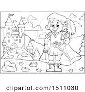 Clipart Of A Black And White Fairy Tale Prince Near A Castle Royalty Free Vector Illustration by visekart