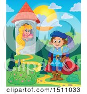 Clipart Of A Fairy Tale Prince Near Rapunzel In A Tower Royalty Free Vector Illustration by visekart