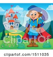 Clipart Of A Fairy Tale Prince Near A Castle Royalty Free Vector Illustration by visekart