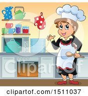 Clipart Of A Female Cook In A Kitchen Royalty Free Vector Illustration