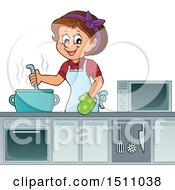 Clipart Of A Female Cook Stirring A Soup Royalty Free Vector Illustration