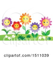 Clipart Of A Garden Of Smiling Flowers Royalty Free Vector Illustration