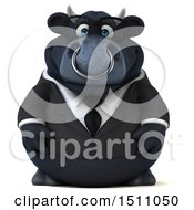 Clipart Of A 3d Black Business Bull On A White Background Royalty Free Illustration