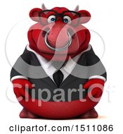 Clipart Of A 3d Red Business Bull On A White Background Royalty Free Illustration