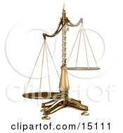 Brass Scales Of Justice Off Balance Symbolizing Injustice On A White Background