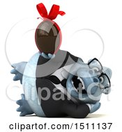 3d White Business Monkey Yeti Holding A Chocolate Egg On A White Background