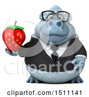 Poster, Art Print Of 3d White Business Monkey Yeti Holding A Strawberry On A White Background