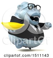 Poster, Art Print Of 3d White Business Monkey Yeti Holding A Banana On A White Background