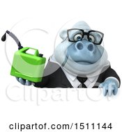 3d White Business Monkey Yeti Holding A Gas Can On A White Background