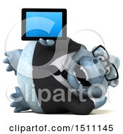3d White Business Monkey Yeti Holding A Tablet On A White Background