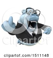 3d White Business Monkey Yeti Holding Up A Middle Finger On A White Background