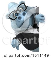 3d White Business Monkey Yeti Holding A Thumb Down On A White Background