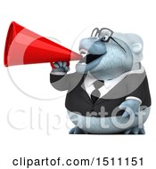 3d White Business Monkey Yeti Using A Megaphone On A White Background
