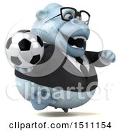 Poster, Art Print Of 3d White Business Monkey Yeti Holding A Soccer Ball On A White Background