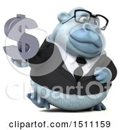 3d White Business Monkey Yeti Holding A Dollar Sign On A White Background