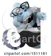 3d White Business Monkey Yeti Holding A Euro On A White Background