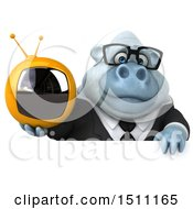 3d White Business Monkey Yeti Holding A Tv On A White Background