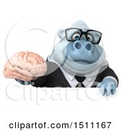 3d White Business Monkey Yeti Holding A Brain On A White Background