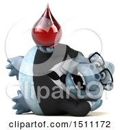Poster, Art Print Of 3d White Business Monkey Yeti Holding A Blood Drop On A White Background