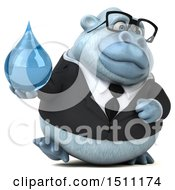 3d White Business Monkey Yeti Holding A Water Drop On A White Background