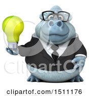 Poster, Art Print Of 3d White Business Monkey Yeti Holding A Light Bulb On A White Background