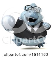 3d White Business Monkey Yeti Holding A Golf Ball On A White Background
