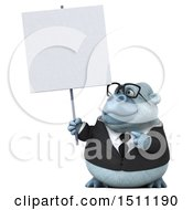 3d White Business Monkey Yeti Holding A Sign On A White Background