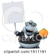 3d White Business Monkey Yeti Holding An Orange On A White Background