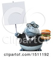 3d White Business Monkey Yeti Holding A Burger On A White Background