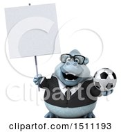 3d White Business Monkey Yeti Holding A Soccer Ball On A White Background