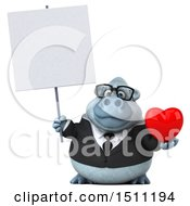 3d White Business Monkey Yeti Holding A Heart On A White Background