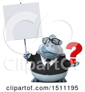 Poster, Art Print Of 3d White Business Monkey Yeti Holding A Question Mark On A White Background