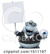 3d White Business Monkey Yeti Holding An Eye On A White Background