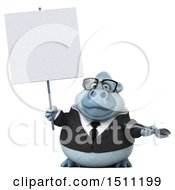 Poster, Art Print Of 3d White Business Monkey Yeti Holding A Wrench On A White Background