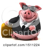 3d Chubby Business Pig Traveler On A White Background