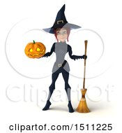 Clipart Of A 3d Sexy Blue Witch Holding A Halloween Pumpkin On A White Background Royalty Free Illustration
