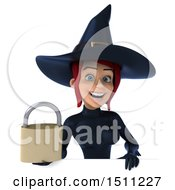 Clipart Of A 3d Sexy Blue Witch Holding A Padlock On A White Background Royalty Free Illustration